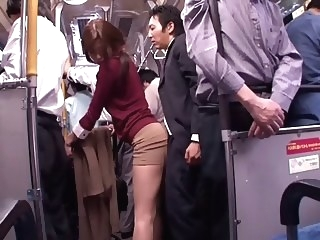 Japanese whore sucks dick in a public bus public blowjob porn